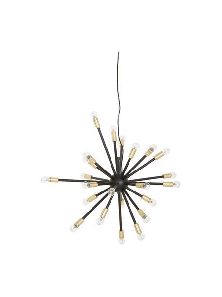 Lampada a sospensione dorata Spike, Baldacchino: metallo rivestito, Paralume: metallo rivestito, Nero, dorato, Ø 90 cm