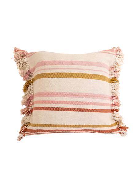 Federa arredo a righe colorate con frange Juarez, 100% cotone, Color crema, giallo, rosa, Larg. 45 x Lung. 45 cm