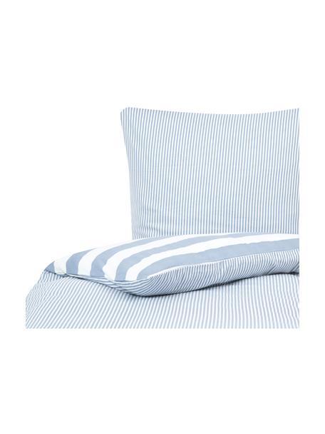 Dwustronna pościel z flaneli Dora, Biały, jasny niebieski, 135 x 200 cm + 1 poduszka 80 x 80 cm