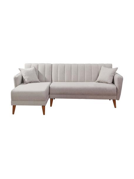 Sofa narożna z lnu z funkcją spania Aqua (3-osobowa), Tapicerka: len, Stelaż: drewno rogowe, metal, Nogi: drewno naturalne, Beżowy, S 225 x G 145 cm