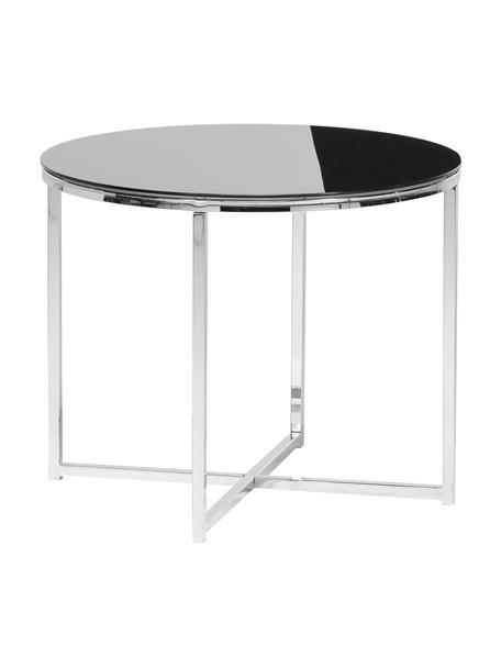Mesa auxiliar Cross, tablero de cristal, Patas: metal cromado, Tablero: vidrio, Negro, metal cromado, Ø 55 x Al 45 cm