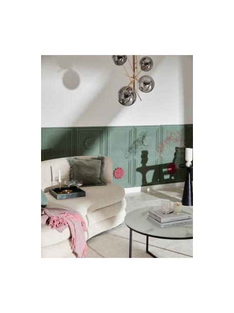 Große Design Pendelleuchte Alara aus Glas, Lampenarme: Metall, beschichtet, Baldachin: Metall, beschichtet, Goldfarben, Grau, transparent, Ø 72 x H 93 cm