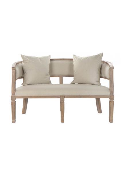 Sofá de lino Garbanzo (2plazas), Tapizado: lino, Estructura: madera de caucho, Beige, An 122 x F 69 cm