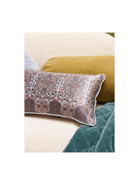 Poduszka z aksamitu z wypełnieniem Giulia, Odcienie niebieskiego, czerwony, S 30 x D 50 cm
