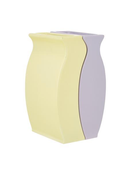 Set 2 vasi di design Fuse, Pietra dolomitica, Lilla,  giallo, Larg. 9 x Alt. 15 cm