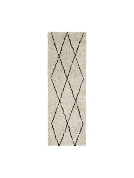 Passatoia soffice a pelo lungo Nouria, Retro: 100% cotone, Beige, nero, Larg. 80 x Lung. 250 cm