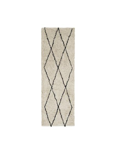 Puszysty ręcznie tuftowany chodnik Nouria, Beżowy, czarny, S 80 x D 250 cm