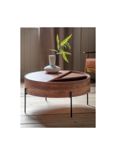 Mesa de centro Risby, con espacio de almacenamiento, Estructura: tablero de fibra de densi, Estructura: metal pintado, Marrón, Ø 83 x Al 40 cm