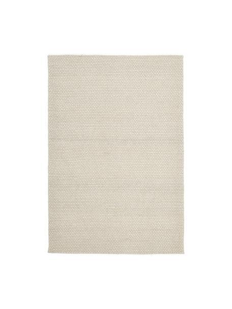 Handgestikte wollen vloerkleed My Loft in ivoorkleur gevlekt, Bovenzijde: 60% wol, 40% viscose, Onderzijde: katoen, Ivoorkleurig, B 80 x L 150 cm (maat XS)