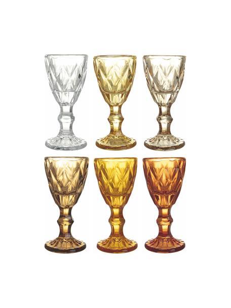 Borrelglaasjes Shades met structuurpatroon, 6-delig, Glas, Geeltinten, Ø 5 x H 11 cm