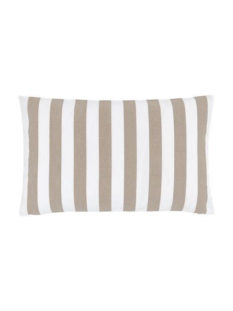 Gestreifte Kissenhülle Timon in Beige/Weiß, 100% Baumwolle, Taupe, Weiß, 30 x 50 cm