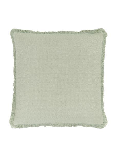 Kissenhülle Lorel in Mintgrün mit dekorativen Fransen, 100% Baumwolle, Grün, 60 x 60 cm