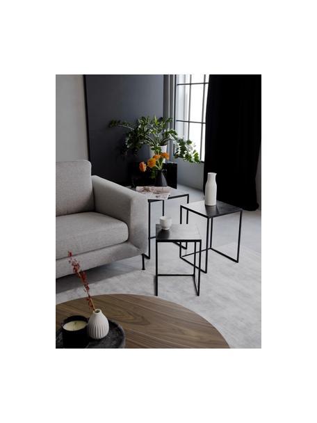 Set de mesas auxiliares de metal Dwayne, 3uds., Tablero: aluminio recubierto, Estructura: metal pintado, Negro con efecto envejecido, Set de diferentes tamaños