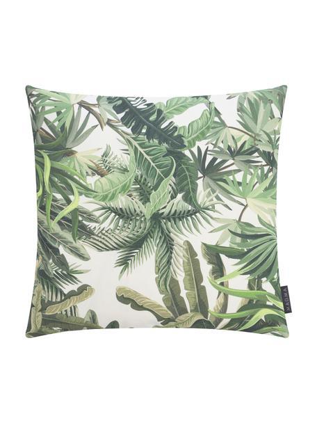 Federa arredo da esterno con motivo tropicale Manus, 100% Dralon® poliacrilico, Verde, crema, Larg. 50 x Lung. 50 cm