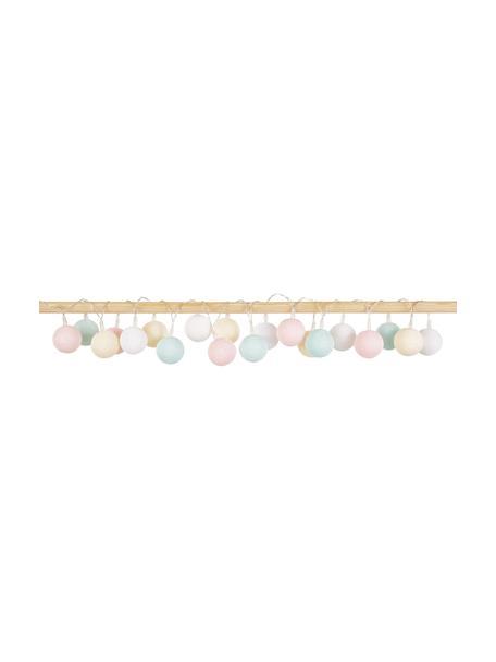 LED lichtslinger Colorain, 378 cm, 20 lampions, Lampions: polyester, Wit, crèmekleurig, poederroze, lichtblauw, L 378 cm
