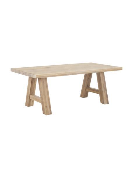 Mesa de comedor de madera de roble maciza Ashton, Madera de roble maciza, barnizada claro Madera 100%FSC procedente de silvicultura sostenible, Madera de roble clara, An 200 x F 100 cm