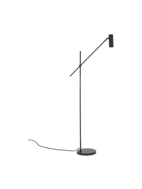 Lámpara de lectura de metal Cassandra, estilo moderno, Pantalla: metal con pintura en polv, Cable: cubierto en tela, Negro mate, An 75 x Al 152 cm