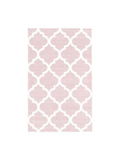 Dun  katoenen vloerkleed Amira in roze/wit, handgeweven, 100% katoen, Roze, crèmewit, B 50 x L 80 cm (maat XXS)