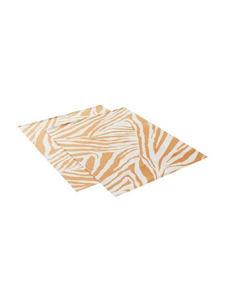 Placemats Zadie van katoen met zebrapatroon, 2 stuks, 100% katoen, Mosterdgeel, crèmewit, 35 x 45 cm