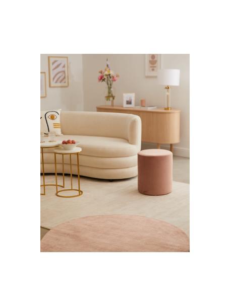 Tappeto rotondo in viscosa rosa tessuto a mano Jane, Retro: 100% cotone, Rosa, Ø 115 cm (taglia S)
