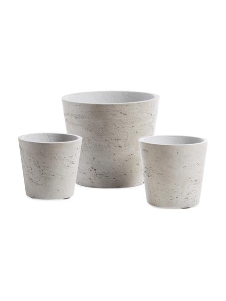 Plantenpottenset Low van cement, 3-delig, Cement, Beige, Set met verschillende formaten