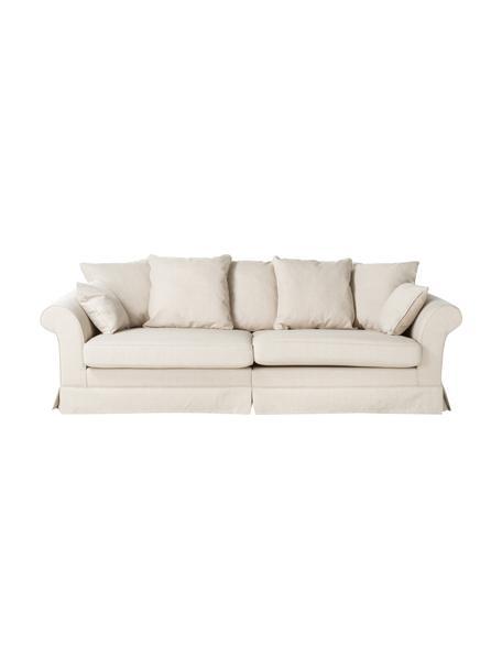 Overdekte bank Nobis in crèmekleur, Bekleding: polyester, Geweven stof crèmekleurig, B 264 x D 111 cm