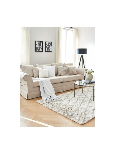 Hussen-Sofa Nobis in Creme, Bezug: Polyester, Webstoff Creme, B 264 x T 111 cm