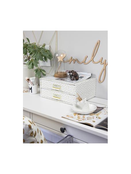 Organizador de escritorio Birger, Organizador: cartón laminado resistent, Blanco, dorado, An 33 x Al 15 cm
