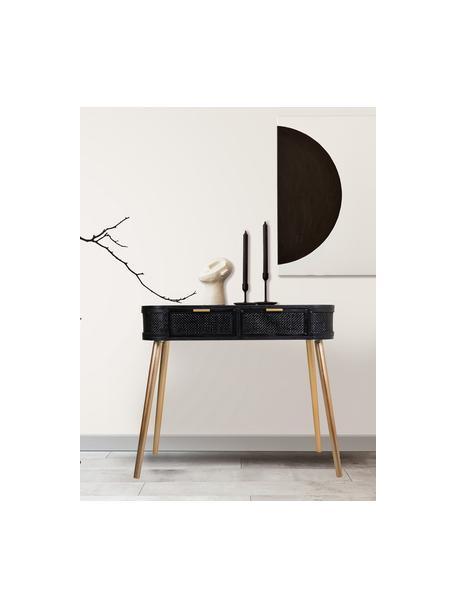 Wandtafel Cayetana van hout, Frame: gelakt MDF, Poten: bamboehout, gelakt, Handvatten: gelakt metaal, Zwart, 88 x 78 cm