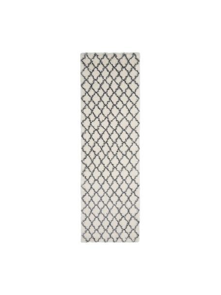 Hoogpolige loper Mona in crèmewit/donkergrijs, Bovenzijde: 100% polypropyleen, Onderzijde: 78% jute, 14% katoen, 8% , Crèmewit, donkergrijs, 80 x 250 cm