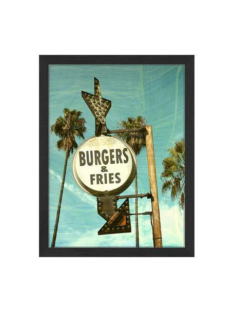 Stampa digitale incorniciata Burgers And Fries, Immagine: stampa digitale su carta,, Cornice: legno verniciato, Multicolore, Larg. 33 x Alt. 43 cm