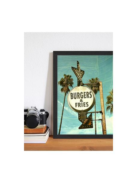 Impresión digital enmarcada Burgers And Fries, Multicolor, An 33 x Al 43 cm
