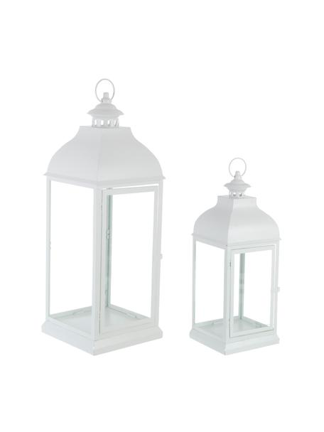 Komplet latarenek Namir, 2 elem., Stelaż: metal powlekany, Transparentny, biały, Komplet z różnymi rozmiarami