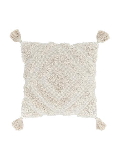 Federa arredo con ornamenti decorativi e nappe Karina, 100% cotone, Beige, Larg. 45 x Lung. 45 cm