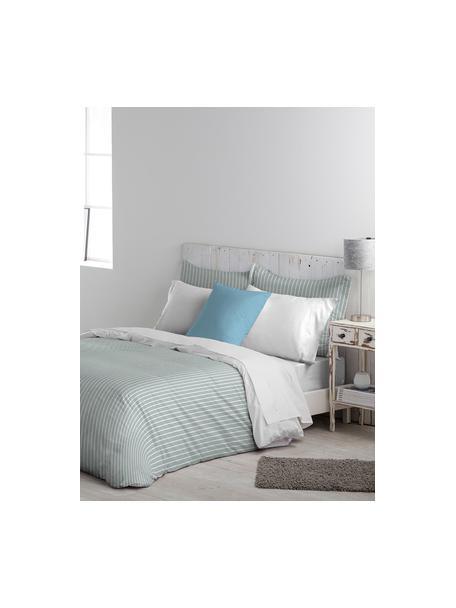 Dubbelzijdig dekbedovertrek Besso, Katoen, Bovenzijde: grijs, wit. Onderzijde: wit, 140 x 200 cm