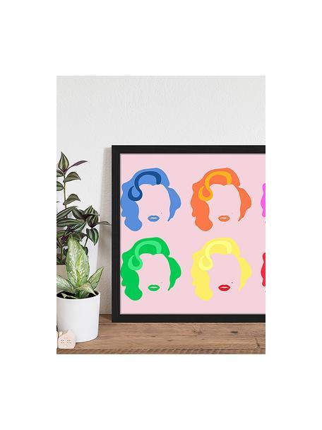 Ingelijste digitale print Marilyn Pop Art, Afbeelding: digitale print op papier,, Lijst: gelakt hout, Multicolour, 53 x 43 cm