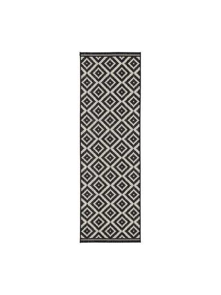 Chodnik wewnętrzny/zewnętrzny Miami, 86% polipropylen, 14% poliester, Kremowobiały, czarny, S 80 x D 250 cm