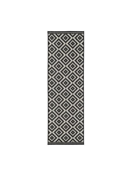 Passatoia nera/bianca a fantasia da interno-esterno Miami, 86% polipropilene, 14% poliestere, Bianco crema, nero, Larg. 80 x Lung. 250 cm