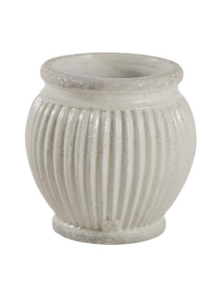 Handgefertigter Übertopf Catinia aus Keramik, Keramik, Beige, Ø 14 x H 14 cm