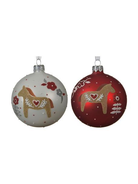 Weihnachtskugeln Horses Ø 8 cm, 2 Stück, Rot, Weiss, Beige, Ø 8 cm
