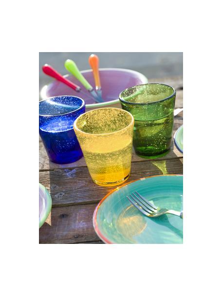 Vasos de vidrio soplado artesanalmente Cancun, 6uds., Vidrio soplado artesanalmente, Amarillo, Ø 9 x Al 10 cm