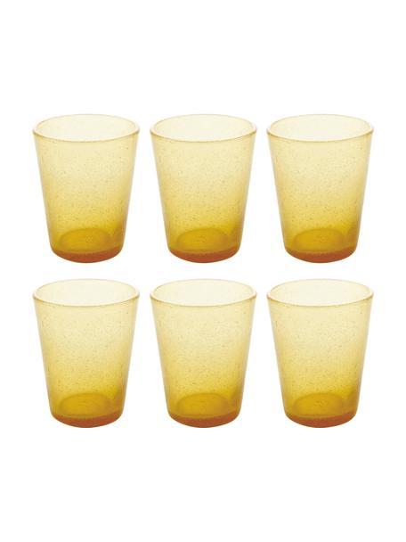 Bicchiere acqua in vetro soffiato giallo Cancun 6 pz, Vetro soffiato, Giallo, Ø 9 x Alt. 10 cm