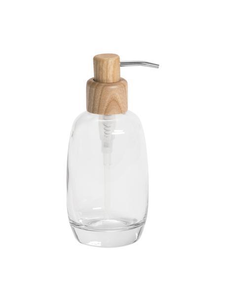 Dispenser sapone Agada, Contenitore: vetro, Testa della pompa: legno di frassino, Trasparente, Ø 8 x Alt. 19 cm