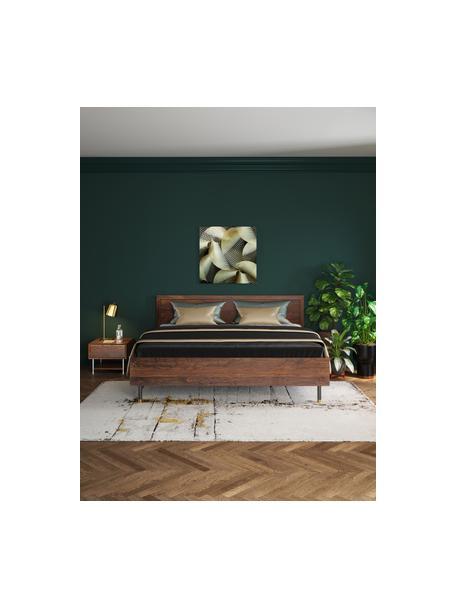 Cama de madera Ravello, Estructura: madera de sheesham maciza, Patas: acero con pintura en polv, Marrón, 160 x 200 cm