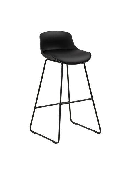 Krzesło barowe ze sztucznej skóry Tina, 2 szt., Tapicerka: sztuczna skóra (poliureta, Nogi: metal malowany proszkowo, Czarny, S 43 x G 49 cm