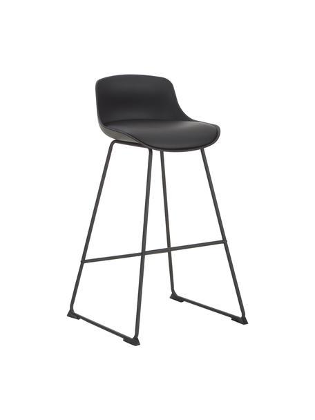 Krzesło barowe ze sztucznej skóry Tina, 2 szt., Tapicerka: sztuczna skóra (poliureta, Nogi: metal malowany proszkowo, Czarny, S 49 x W 94 cm