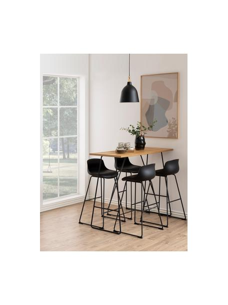 Kunstleren barkrukken Tina , 2 stuks, Bekleding: kunstleer (polyurethaan), Poten: gepoedercoat metaal, Zwart, 49 x 94 cm