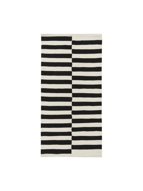 Alfombra kelim artesanal Donna, Parte superior: 80%lana, 20%nylon, Reverso: 100%algodón Las alfombra, Negro, An 80 x L 150 cm (Tamaño XS)