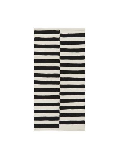 Handgeweven Kelim vloerkleed Donna met strepen, Bovenzijde: 80% wol, 20% nylon, Onderzijde: 100% katoen, Zwart, B 80 x L 150 cm (maat XS)