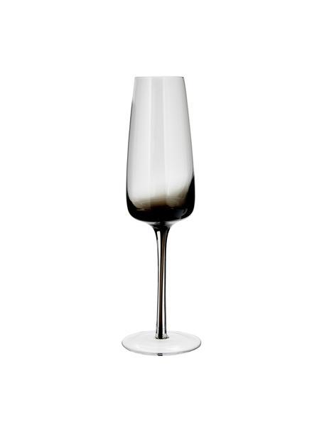 Copas flauta de champán de vidrio soplado artesanalmente Smoke, 4uds., Vidrio soplado artesanalmente, transparente, tonos gris, Ø 7 x Al 23 cm